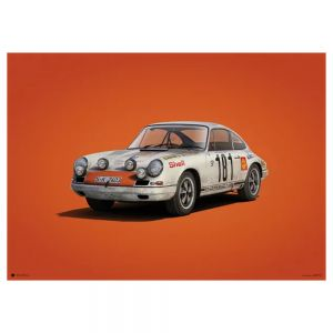 Poster Porsche 911R - weiß -  Tour de France 1969 - Colors of Speed