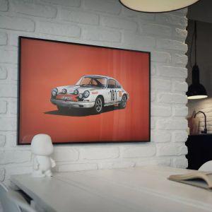 Poster Porsche 911R - weiß -  Tour de France 1969 - Colors of Speed