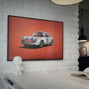 Poster Porsche 911R - white - Tour de France 1969 - Colors of Speed