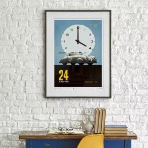 Poster Porsche Gmund - Argento - 24h Le Mans - 1951