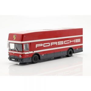 Mercedes-Benz O 317 transportador de carreras Porsche Motorsport rojo 1/43 Schuco