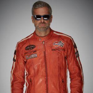 Gulf Veste en cuir Racing orange