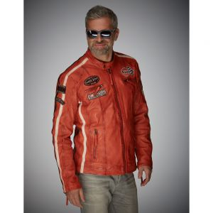 Gulf Veste en cuir Racing orange