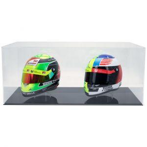 Vitrine pour 2 casques miniatures