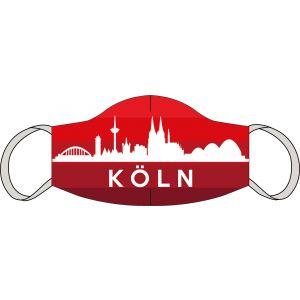 Mund-Nasen Maske Köln Skyline rot