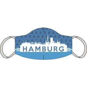 Mouth and nose mask Hamburg skyline blue