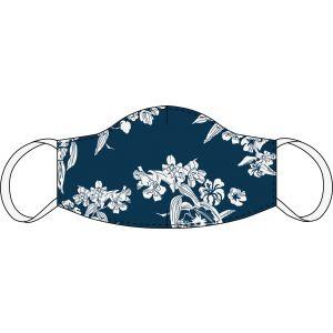 Maschera bocca e naso Blu scuro floreale