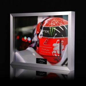 Michael Schumacher picture with hand painted carbon plate quote Final Helmet 2012