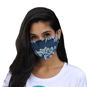 Mund-Nasen Maske Floral dunkelblau