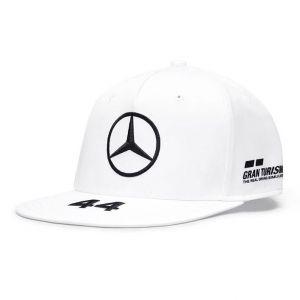 Mercedes-AMG Petronas Pilote Casquette Hamilton blanc Flat Brim