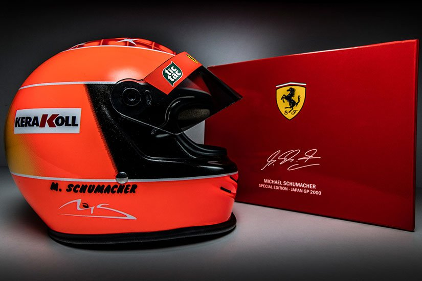 The Michael Schumacher Miniature Helmet Ferrari F1 World Champion 2000 on a scale of 1:2 - Now available