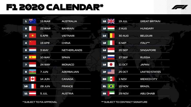 2020 Formula 1 Dates For Your Diary