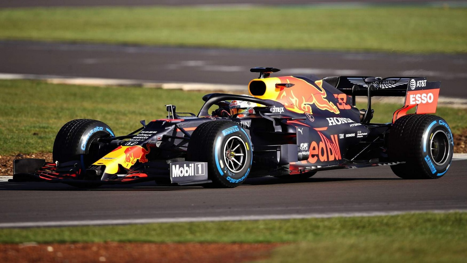 Red Bull RB16 out on track with Max Verstappen at the wheel